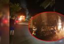 Vehículo terminó en llamas, al parecer por falla mecánica
